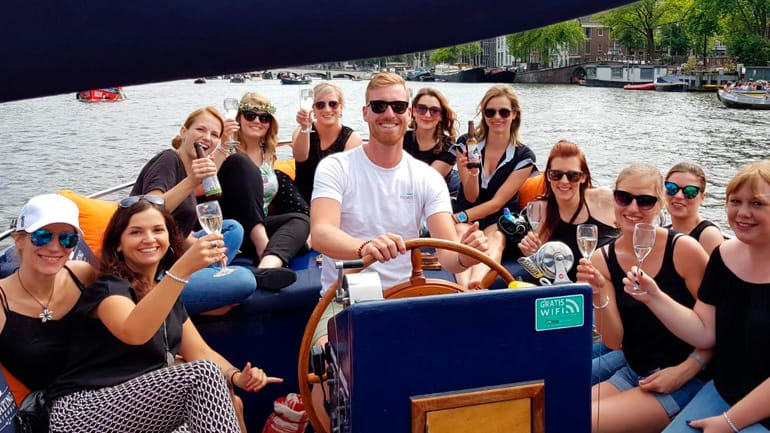 Bachelor party on a private tour boat in Amsterdam